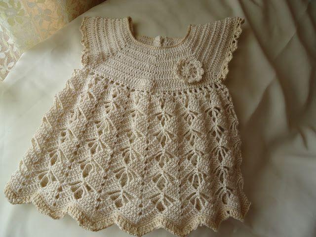 Vestidito de niña en algodón a crochet (de 0 a 3 meses)   crochet ...