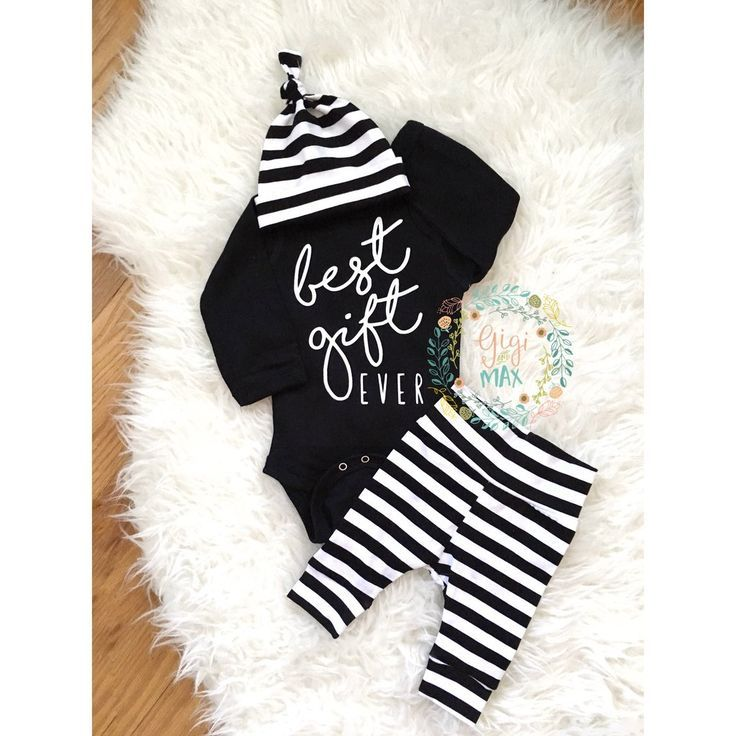 Best Gift Ever baby boy Newborn Outfit black and white ...