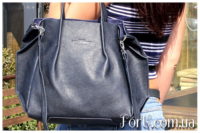 483630bbf76e Кожаная сумка POOLPARTY Soho Remix синяя Одно отделение, карман на