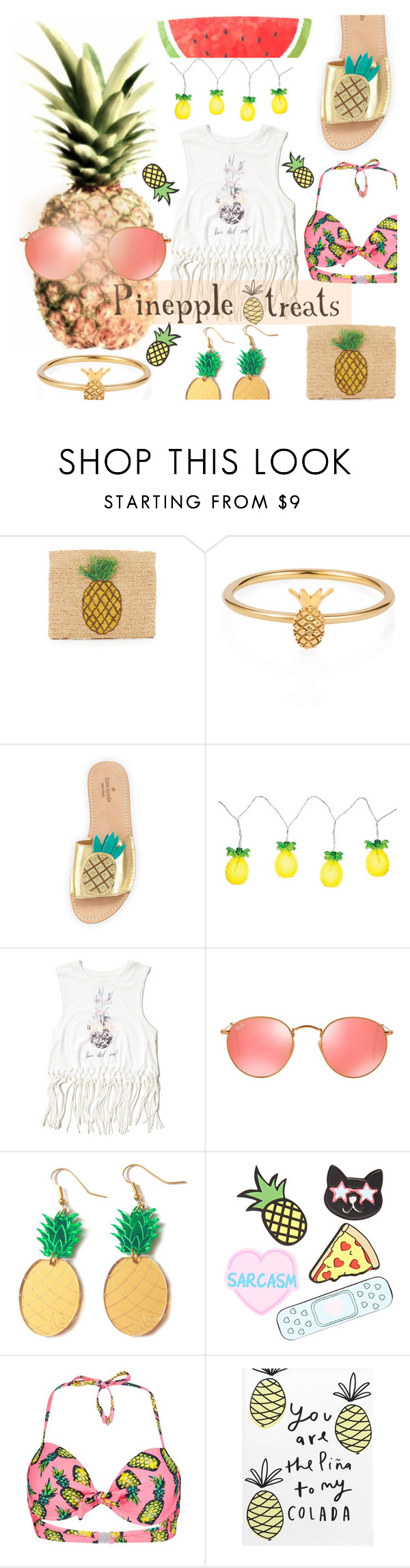 """Pineapple treats"" by hopelovesfashion ❤ liked on Polyvore featuring Hat Attack, Lee Renee, Kate Spade, Sunnylife, Hollister Co., Ray-Ban, Forever 21 and Boohoo"