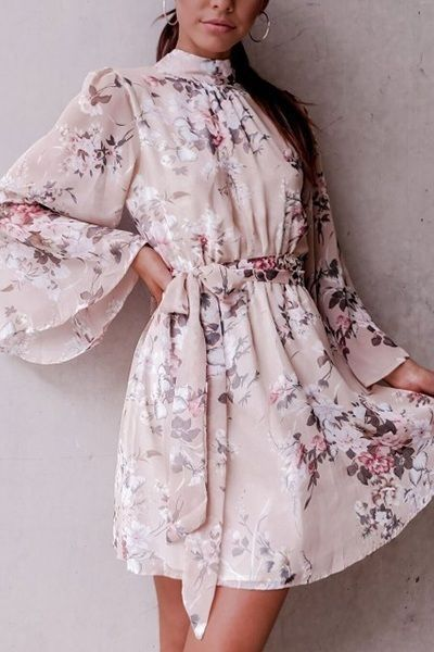 New pink floral long bell sleeve chiffon sexy backless short dress spring summer