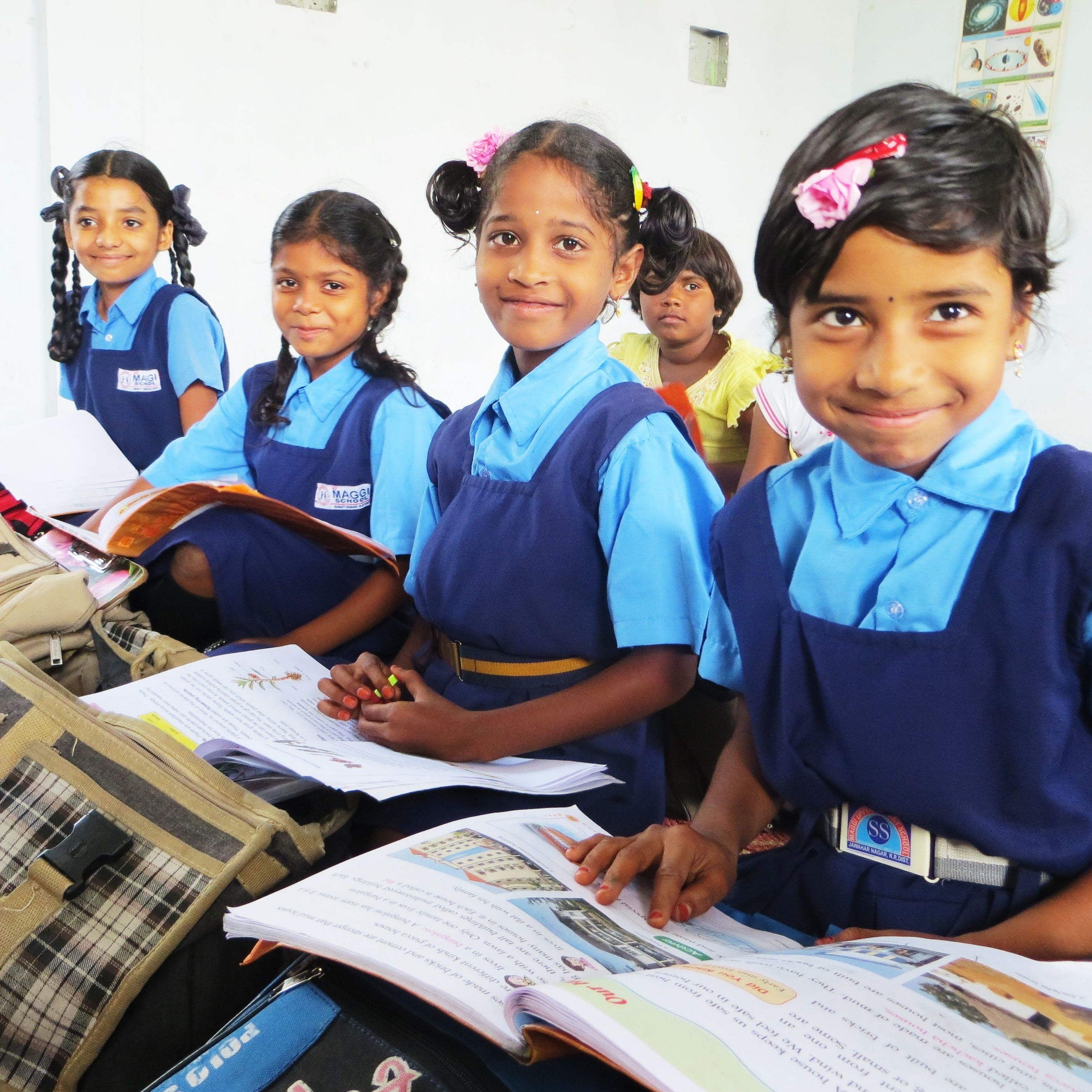 Girls Rescued From Child Labor Situations In The Slums Of Hyderabad, India  Are Now Enrolled
