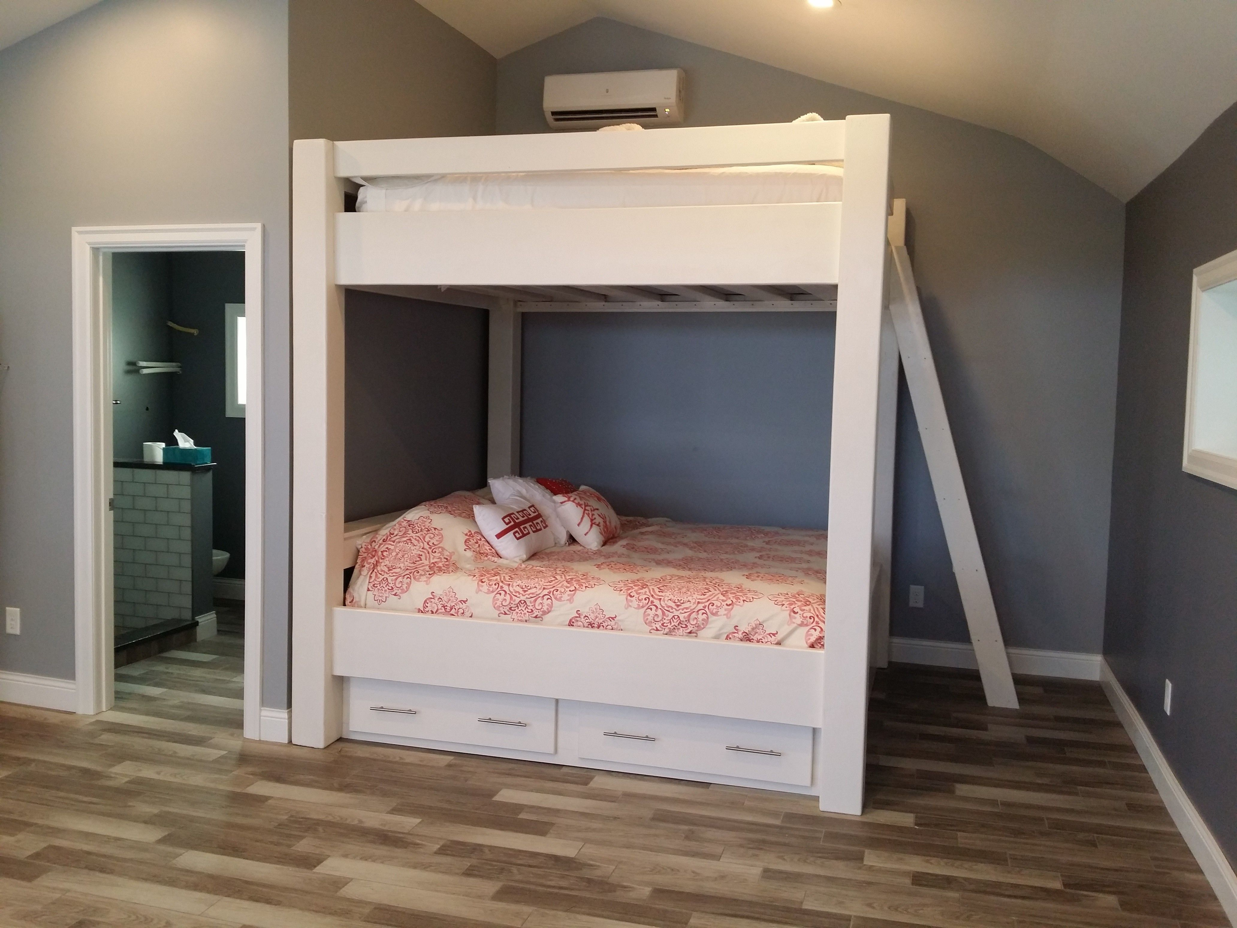 ^ Queen over Queen Bunk Bed with Drawers and Shelves Queen Bunk ...
