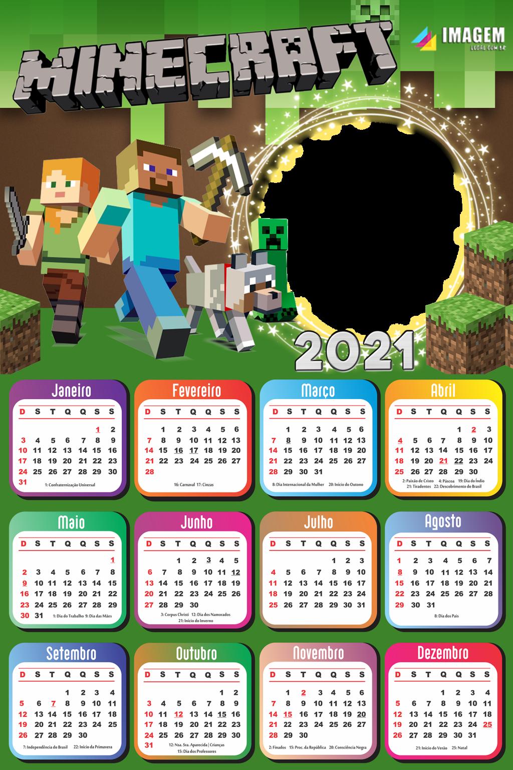 Calendário 11 Minecraft Colagem de Foto  Imagem Legal