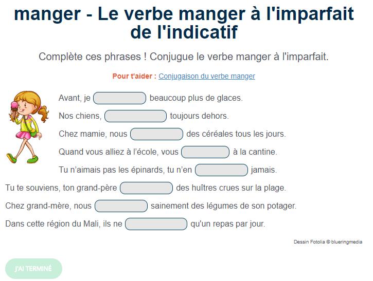 Le Verbe Manger A L Imparfait De L Indicatif Imparfait Exercice De Francais Cm1 Conjugaison Cm1