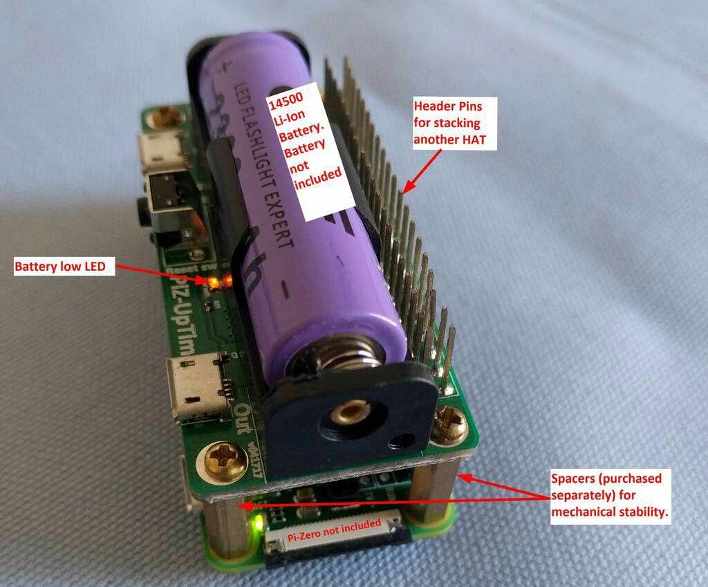 PiZ-UpTime – UPS and power mobility for Pi Zero/W