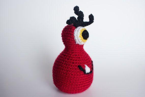 Monster glücklich rot und schwarz Gestricken von PurpleBerryInk