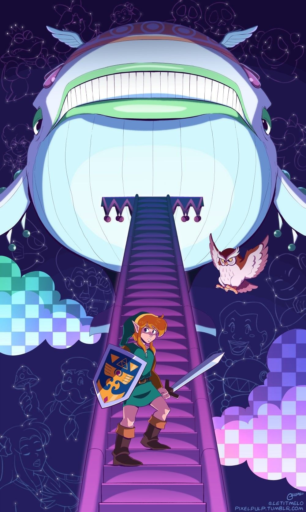 Legend Of Zelda Link S Awakening Art Link And The Wind Fish Letitmelo Legend Of Zelda Zelda Art Link Pixel Art