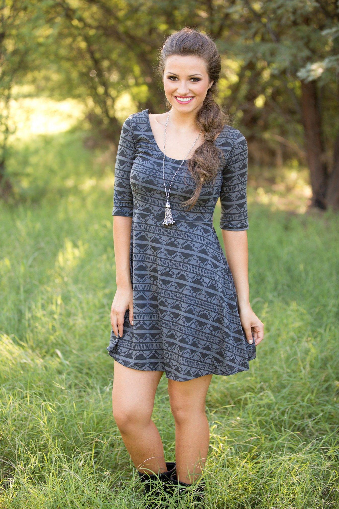 Gray Aztec Print 3/4 Sleeve Skater Dress | USTrendy// #ustrendy #black #gray #aztec #skater #dress