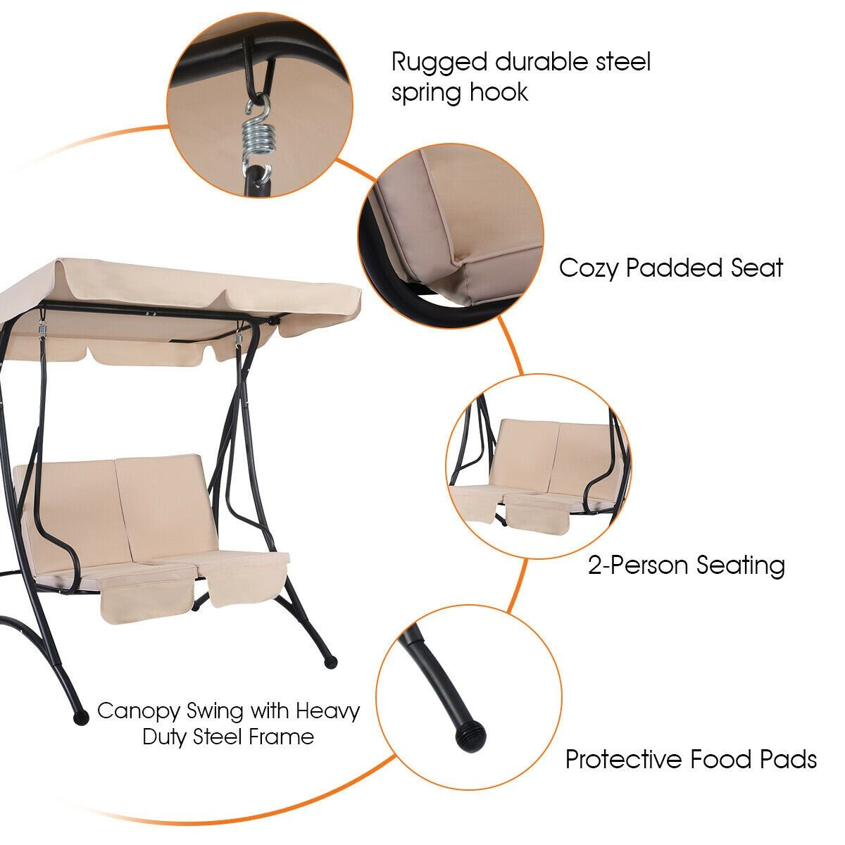 2 person cushioned furniture steel canopy swing chair