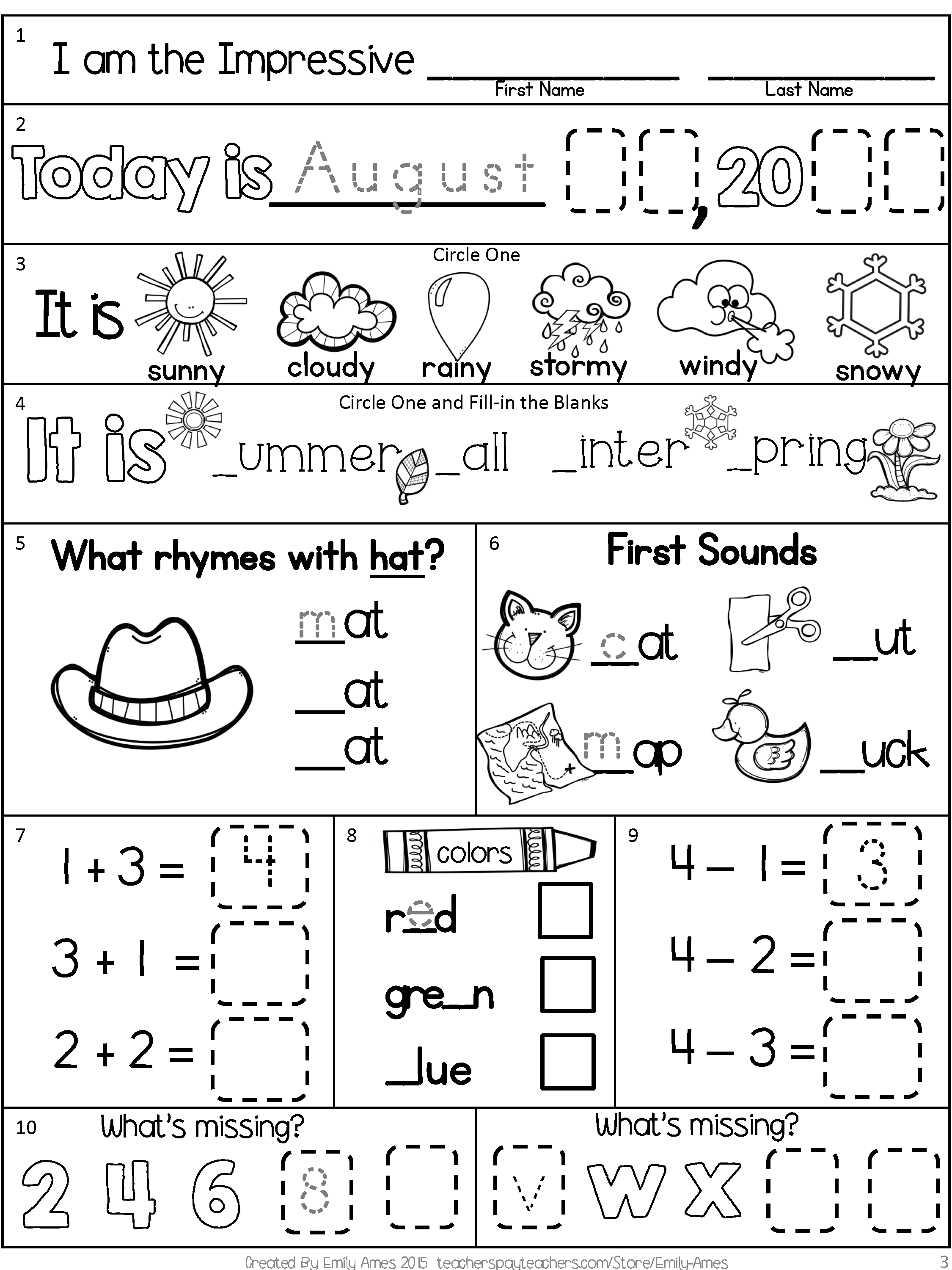 Morning Work Freebie First Grade August Packet Back To School Beginning Year