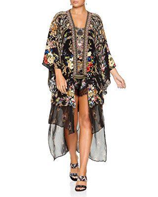 1c5e117fdc47 Camilla Designer Printed Silk Kimono with Long Underlay | Avivey ...
