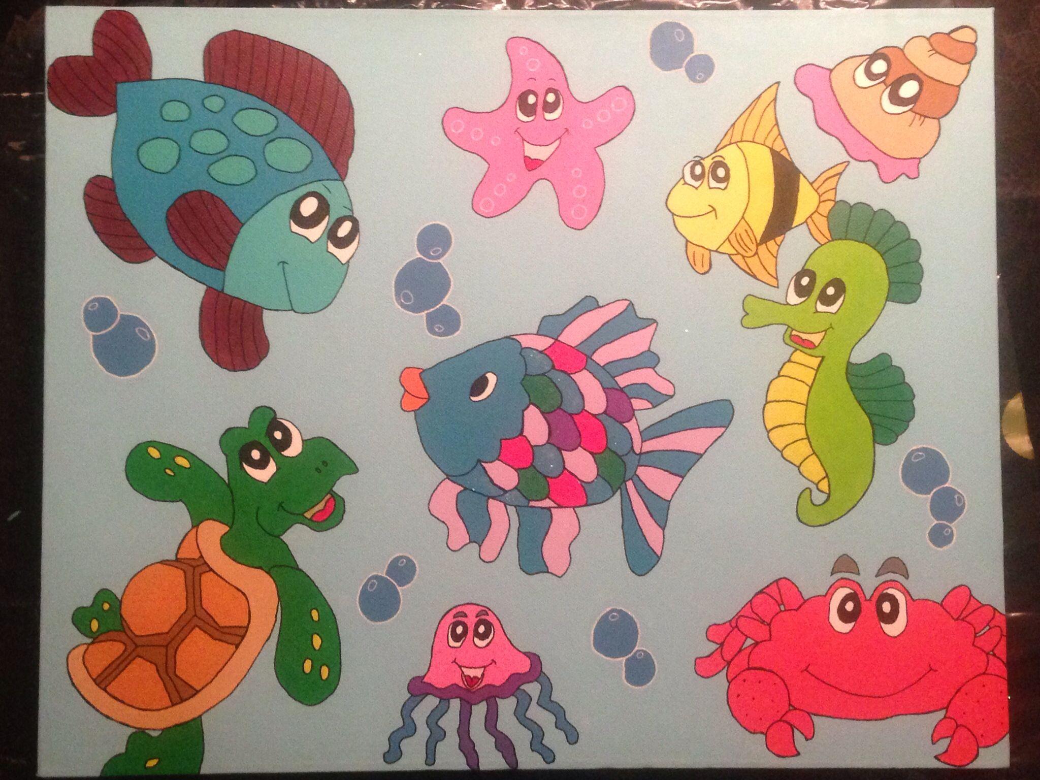 Zelf gemaakt kinderschilderij vissen