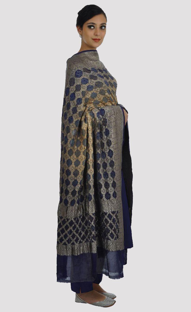 e600030a8a Navy Blue-Grey Ombre Banarasi Zari Bandhej Dupatta With Suit   Raw ...