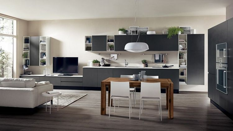 cuisine ouverte sur salon de design italien moderne cuisine ouverte sur salon design italien. Black Bedroom Furniture Sets. Home Design Ideas