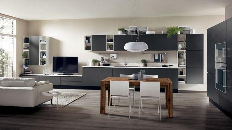 Cuisine Ouverte Sur Salon De Design Italien Moderne | Cuisine