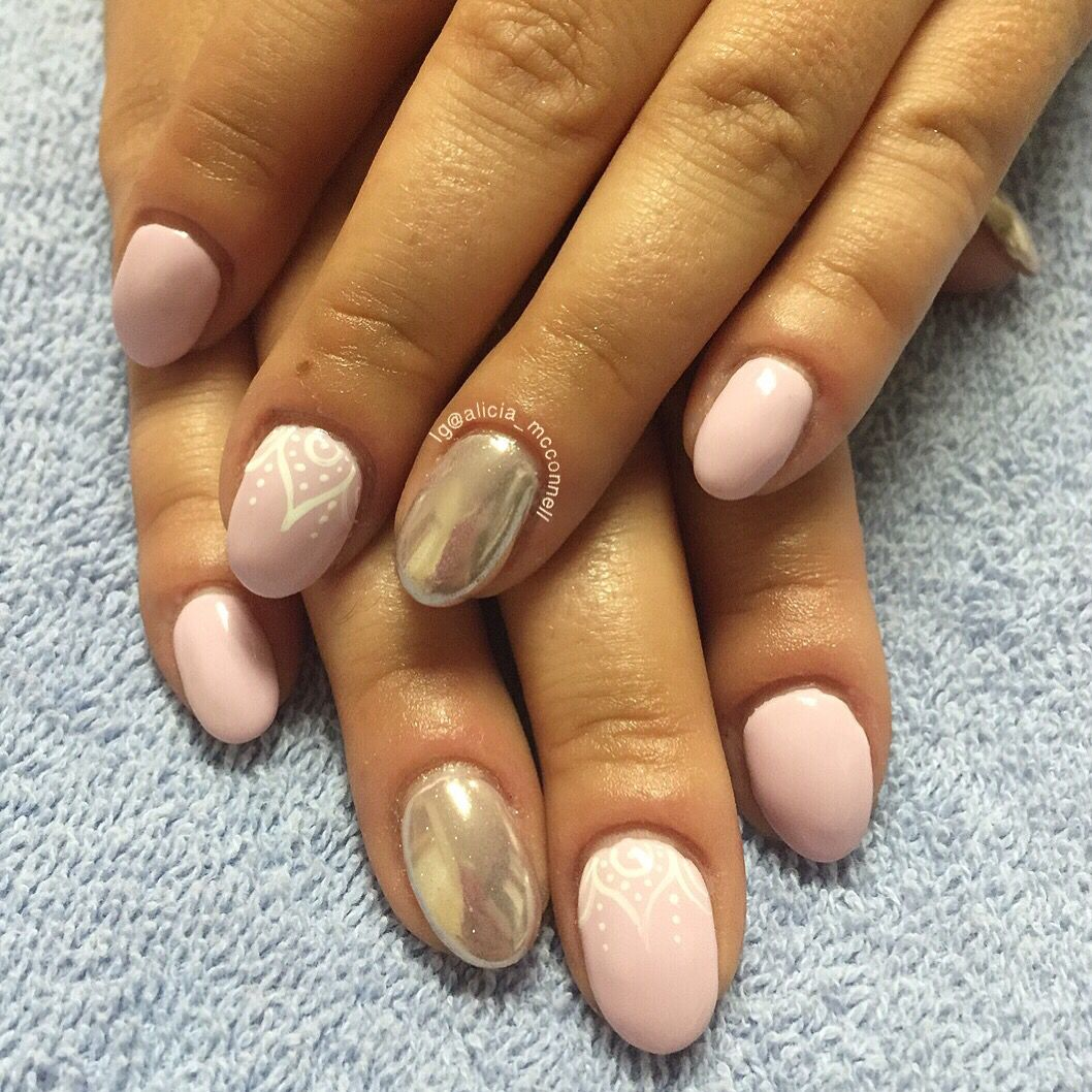 pink and chrome nails