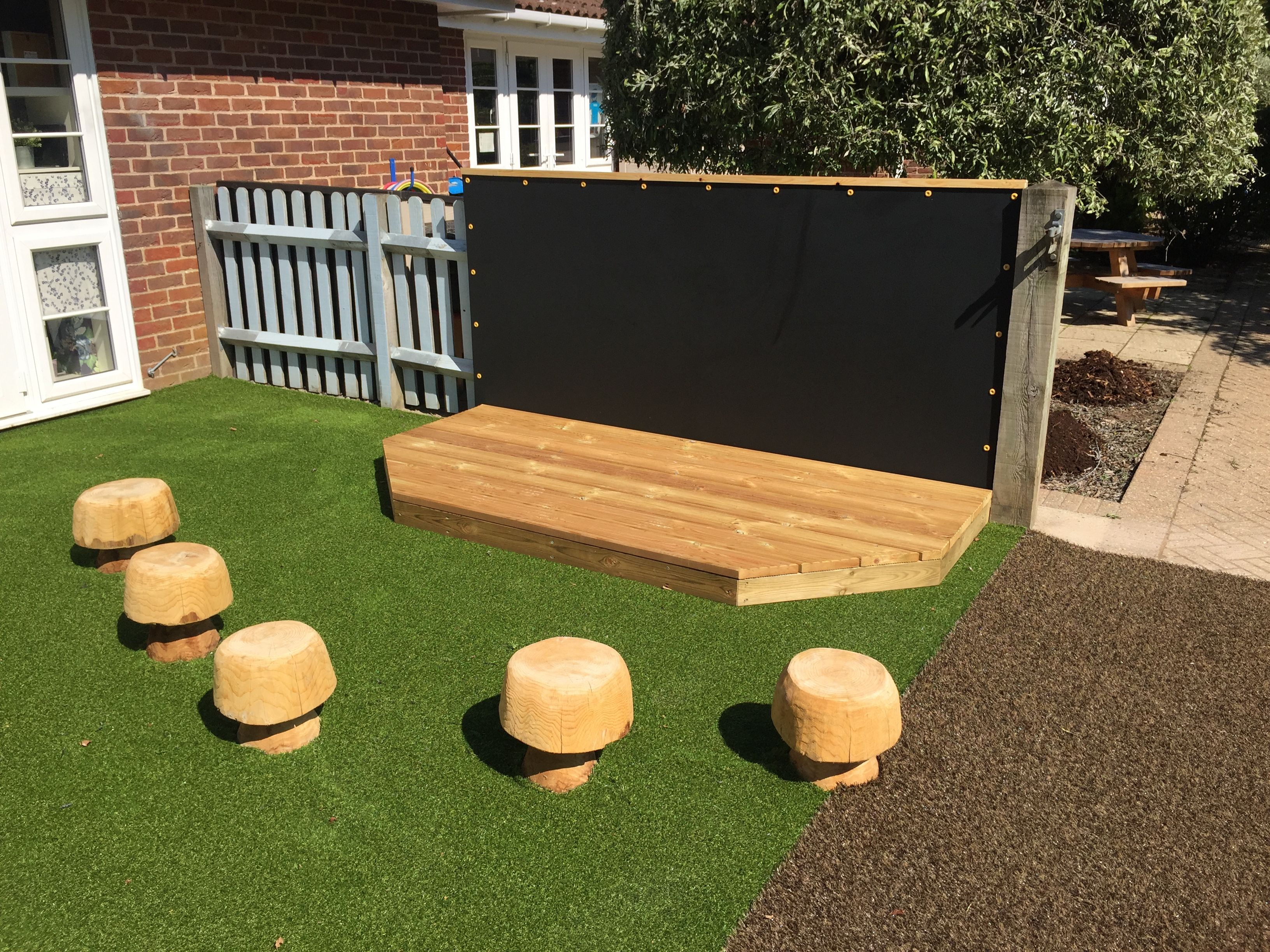 Playground Stage and Seating - Chalkboard Backdrop ...