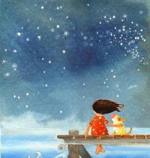 Resultado de imagen para Dibujo de niña contemplando las estrellas