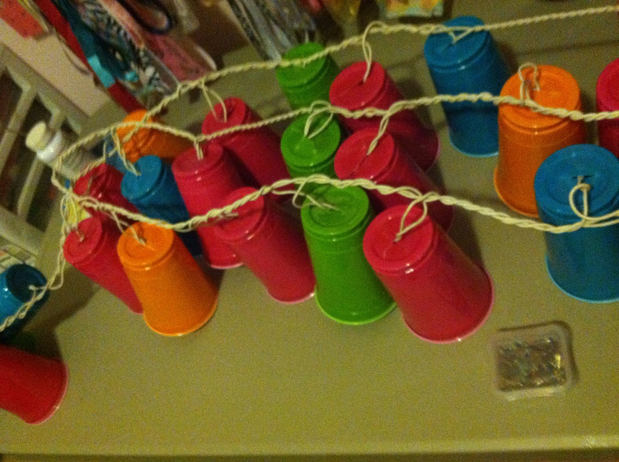 hanging outside party lights made from solo cups super cute
