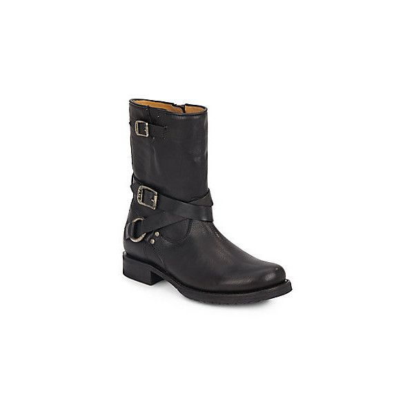 Frye Veronica Leather Harness Boots ($190) ❤ liked on Polyvore featuring shoes, boots, black, frye boots, stacked heel boots, synthetic leather boots, black leather boots and leather shoes