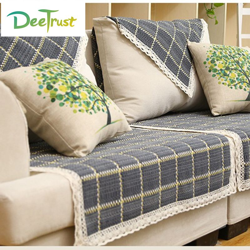 European Style Plaid Sofa Cover Cotton Linen Fabric Four Seasons Wedding Decoration Couch Covers Set Sectional Seat Cover T Plaid Sofa Couch Covers Sofa Covers