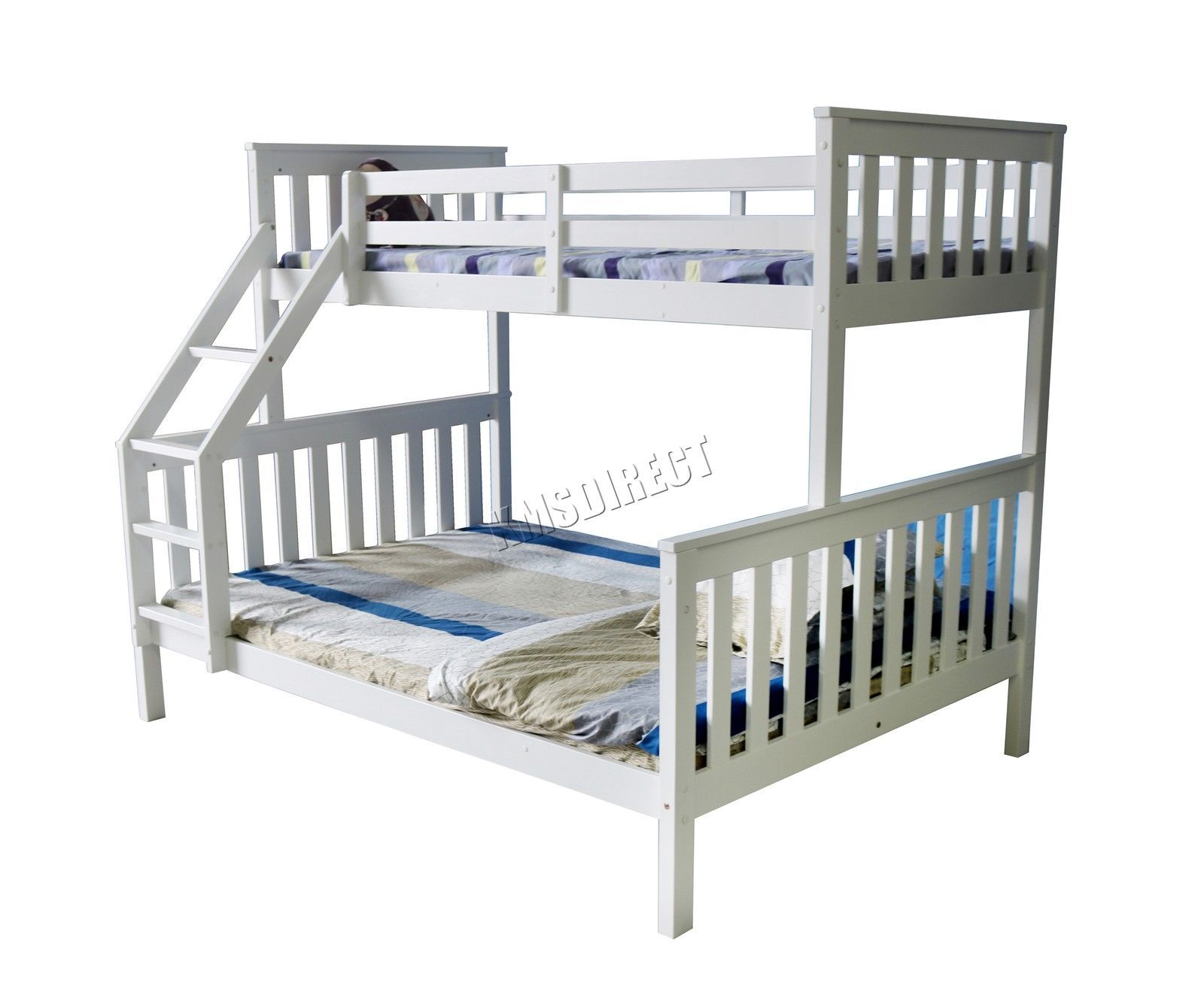 Foxhunter Bunk Bed Wooden Frame Children Kids Triple Sleeper No Mattress White Ebay