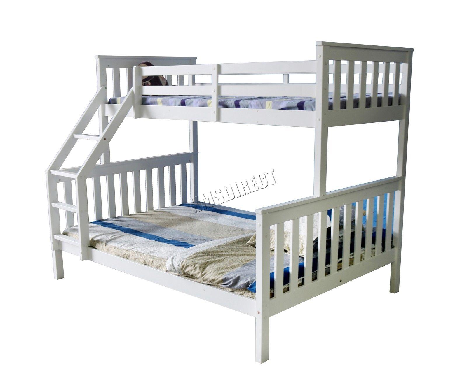foxhunter bunk bed wooden frame children kids triple sleeper no mattress white - Ebay Bed Frames
