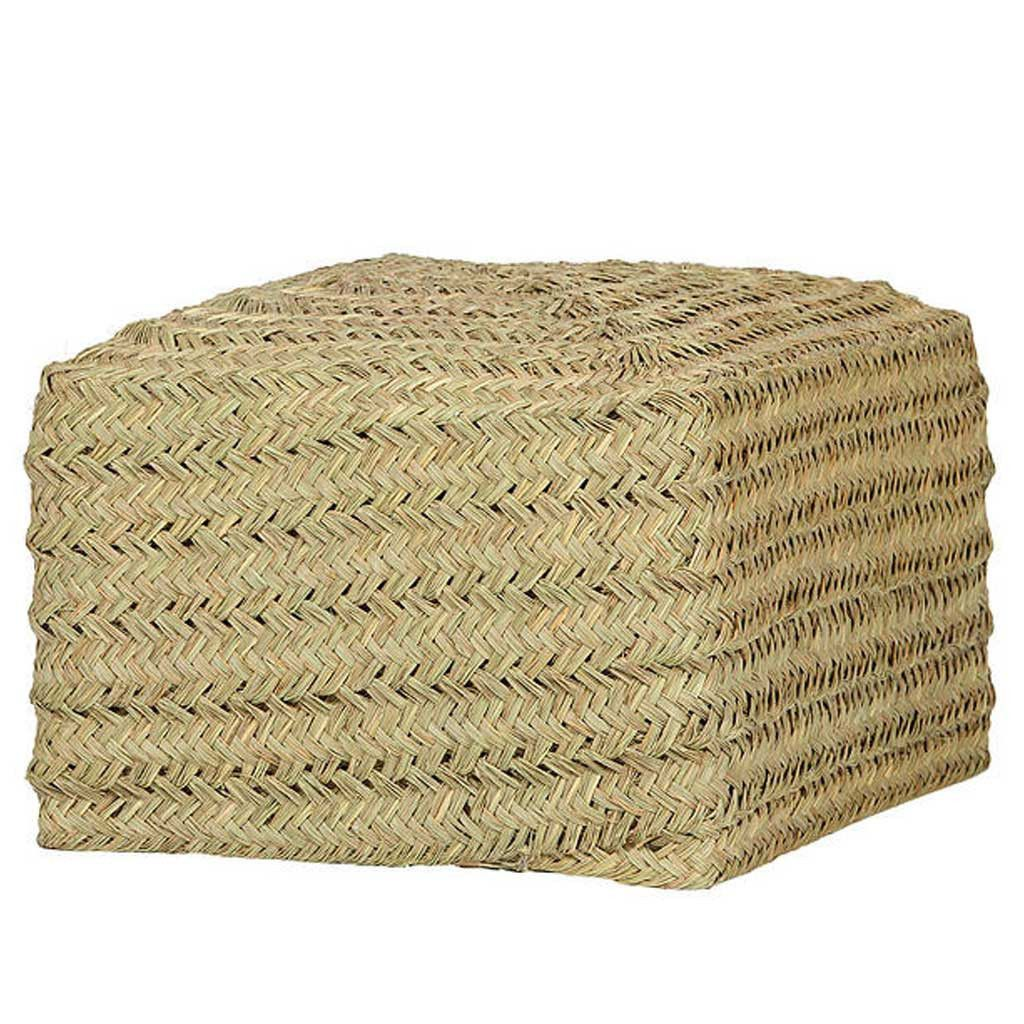 Furniture - Saona Esparto Natural Square Pouffe - Hutsly. Handmade in Spain, this beautiful natural pouffe is covered in woven esparto fiber. No two pouffes are the same due to the hand-weaving so they are truly unique and their style remind us of Provence or Mexico! For outdoor use we recommend leaving it inside or under a covered porch when the sun is not out.