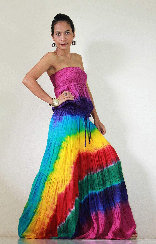 Tie Dye Dress Boho Hippie Funky Smo | Boho hippie, Tie dye dress ...