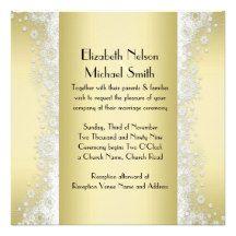 Elegant Snowflake Christmas Gold Damask Wedding Invitation