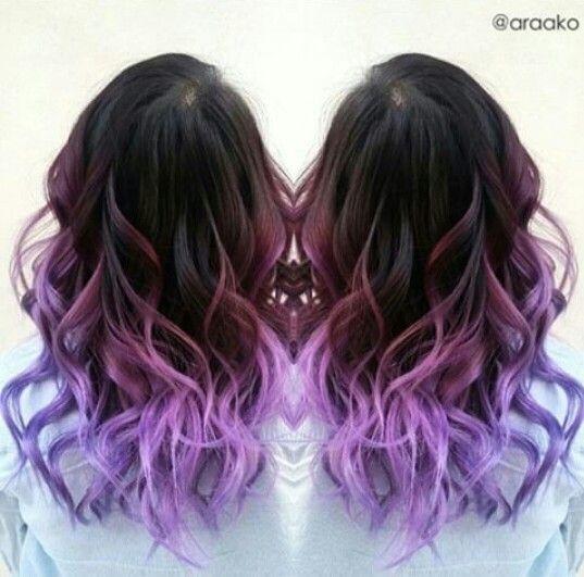 pink & purple hair cute color