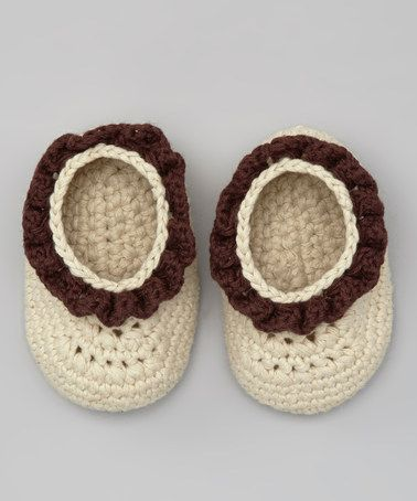 Take a look at this Beige & Brown Crochet Bobble Booties by Knitoes & Co. on #zulily today!