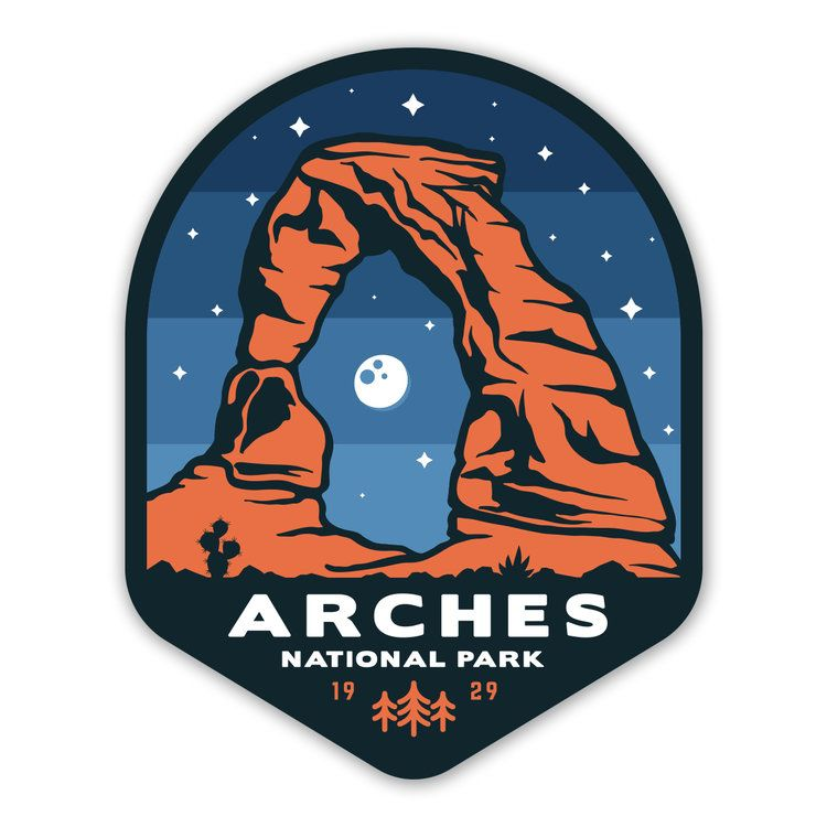 Arches National Park Sticker Badge design, Sticker