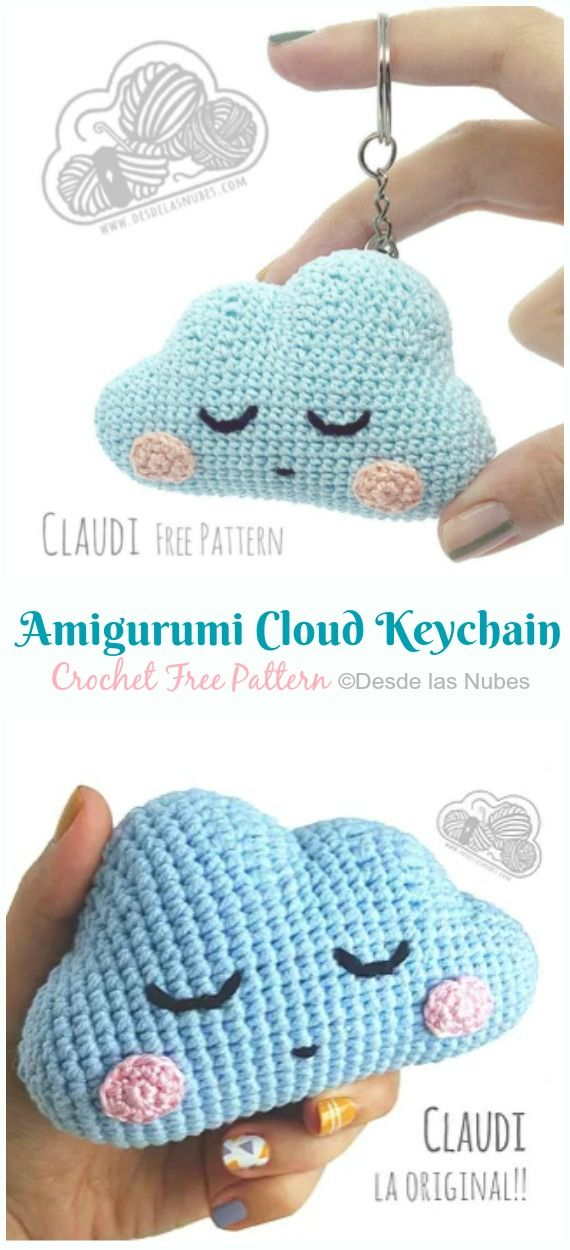 Amigurumi Cloud Keychain Crochet Free Pattern - Crochet & Knitting #freeamigurumipatterns