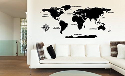 Huge World Map with Countries Vinyl Wall Words Decal Sticker. Measures 44 x 96 inches. Application instructions are included. Some decals may come in multiple pieces due to the size of the design.