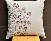 "Ixora Throw Pillow Cover 18"" x 18"" - Embroidered Decorative Pillow Cover -Light Dessert Sand Linen with Floral Embroidery"