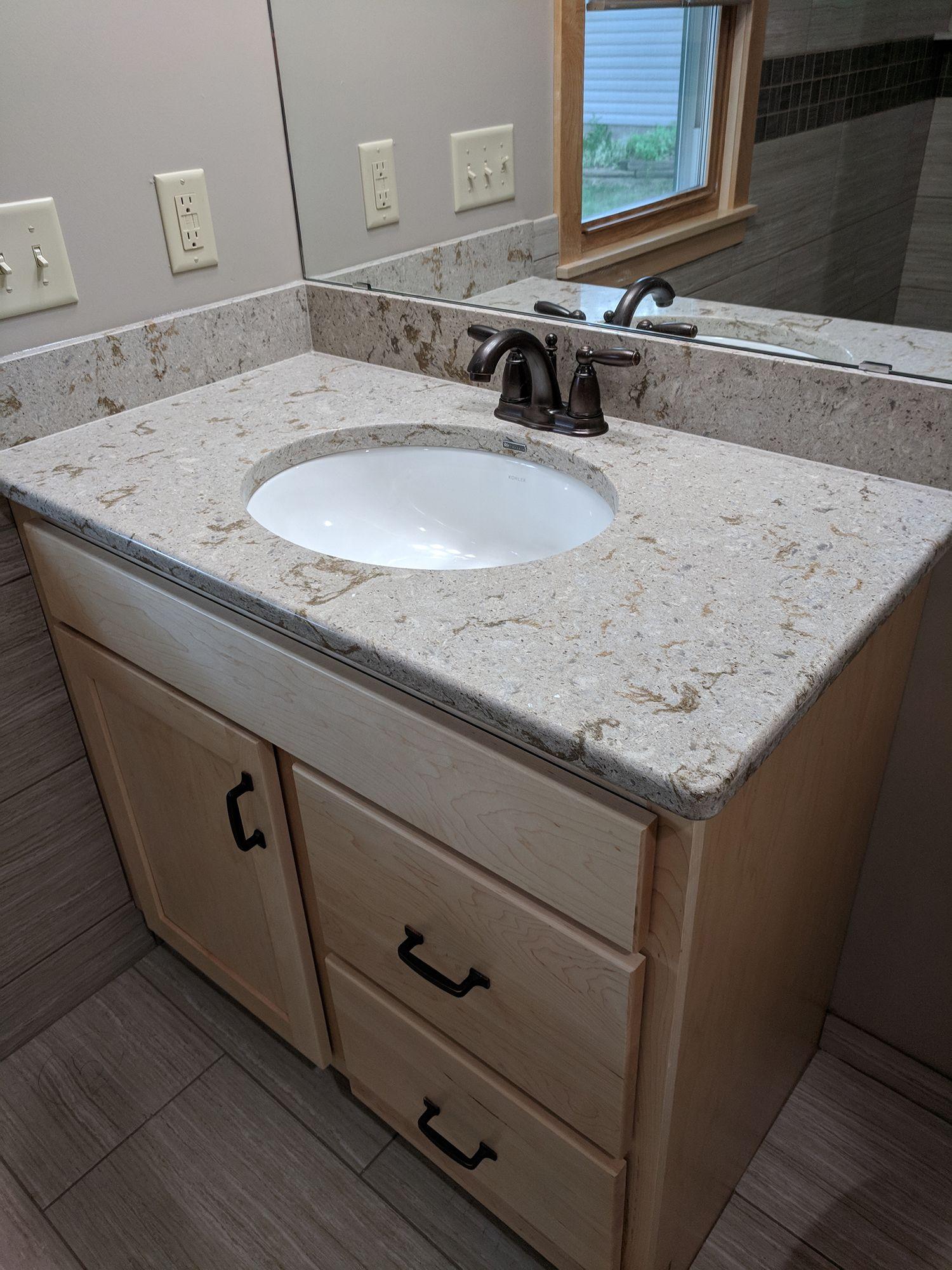 Updated Bathroom Sink Countertop And Cabinet Granite Bathroom