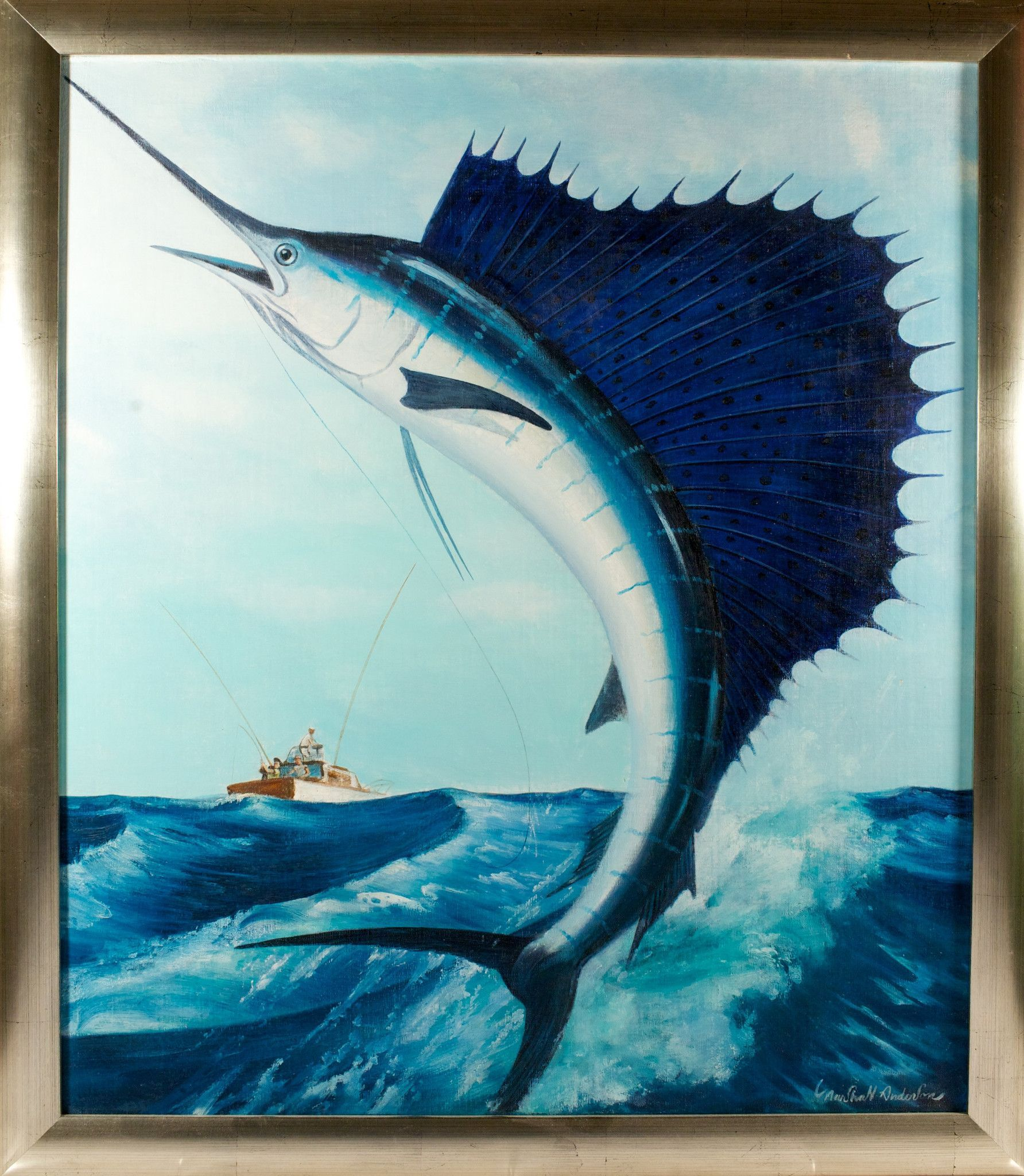 Leaping Sailfish By Marshall Anderson Oil On Canvas Oil On
