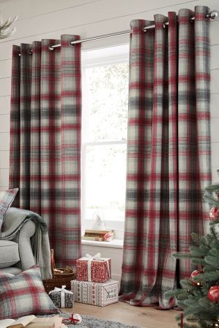 Cream Plaid Print Pencil Pleat Kitchen Curtains Uk