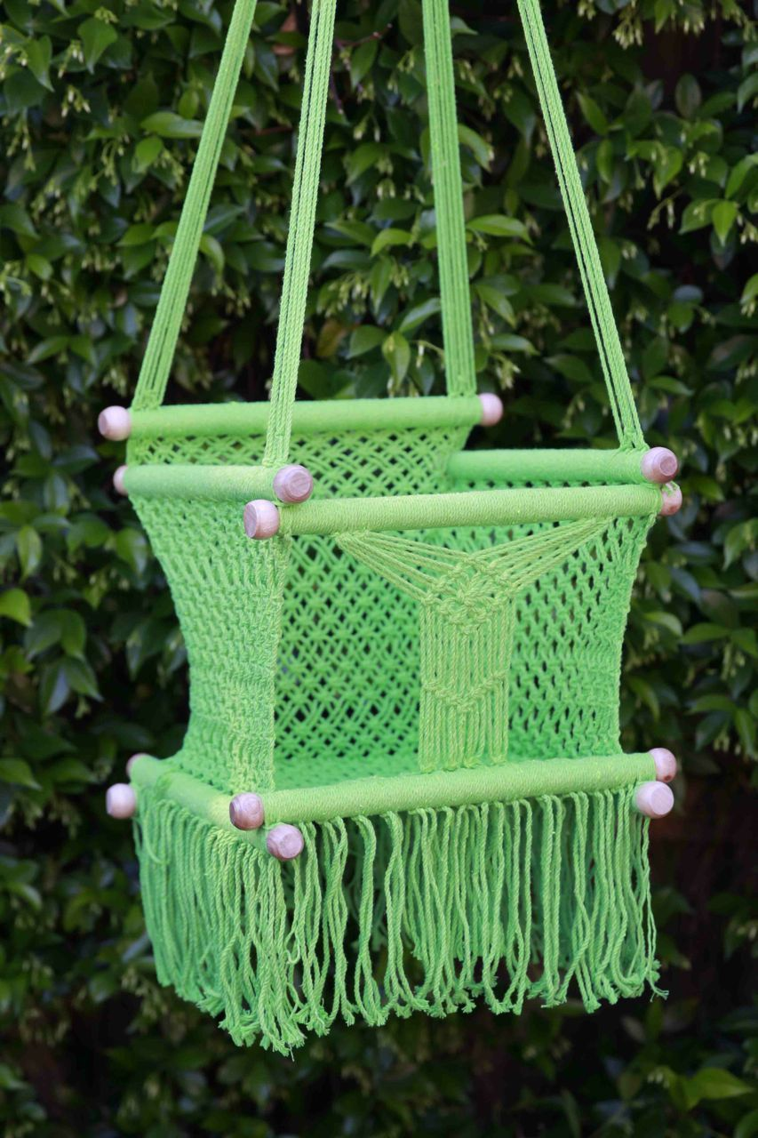 Lime green beautifully hand crocheted swing for child from months