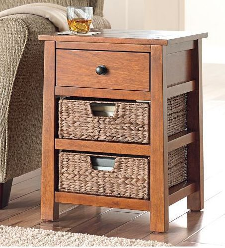 Best End Table 3 Drawer Basket Nightstand Bedroom Furniture 400 x 300