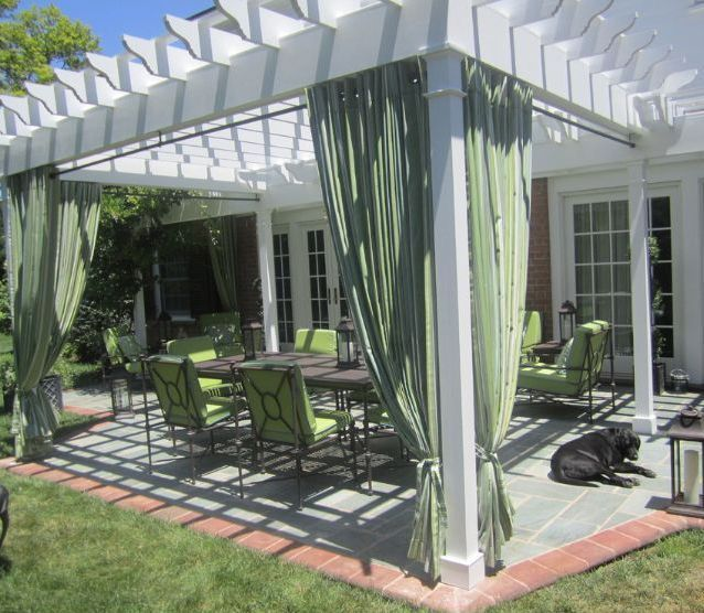 White Pergola With Curtains Pergola Ideas Pinterest Outdoor Rooms Outdoor Curtains Pergola Patio
