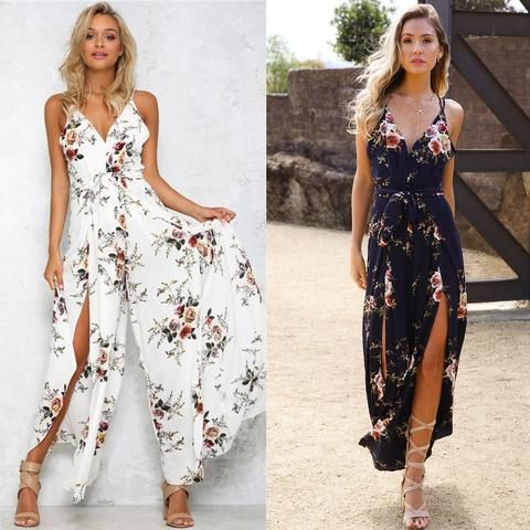 5baa583849f Fashion Women Summer Jumpsuit Sexy Ladies Boho Floral Beach Playsuit Long  Maxi Jumpsuit Wide Leg Jumper Clothes