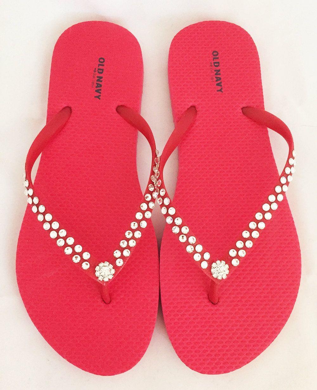 7d57f6cde8cab Custom Women Red Old Navy Flip Flops - Swarovski Crystal Flip Flops ...
