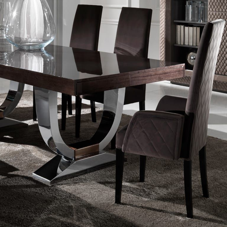 Large Modern Italian Veneered Extendable Dining Table Set In 2020