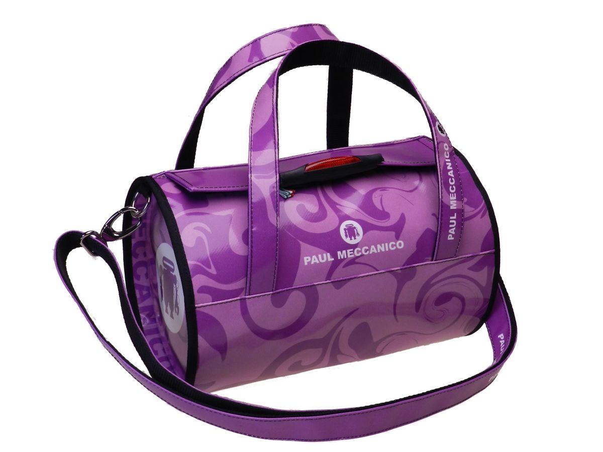 Boston bag Paul Meccanico Mini model violet color with shoulder bag.