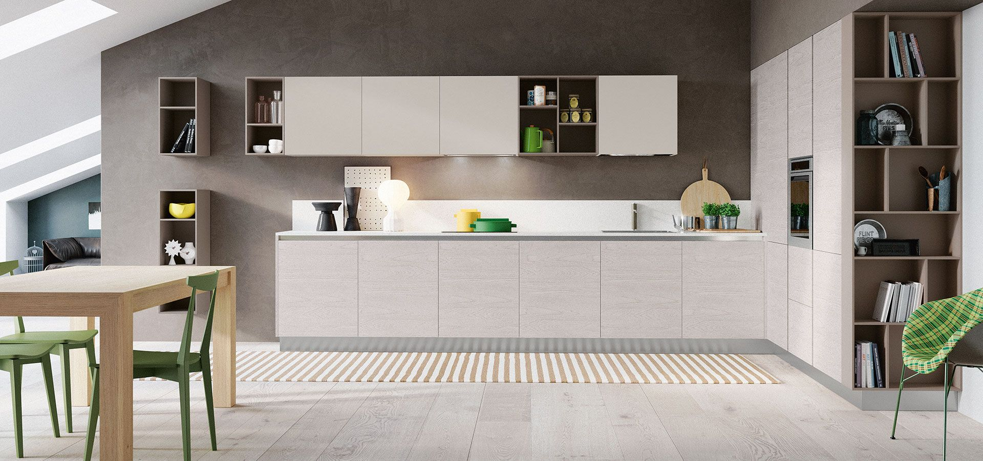 cucina moderna - cloe finitura rovere atlanta | pensili perla ... - Pensili Inox Per Cucina