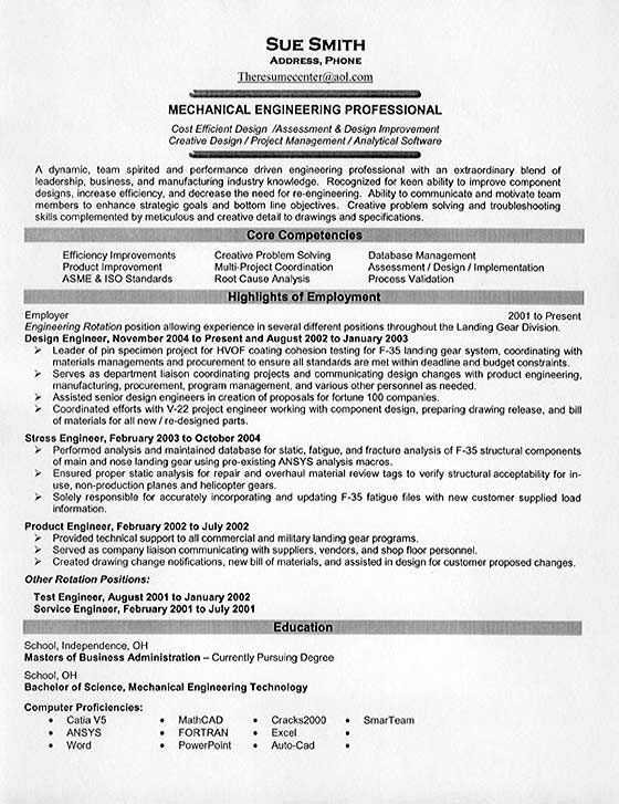 Mechanical Engineering  Resume Examples  Engineering