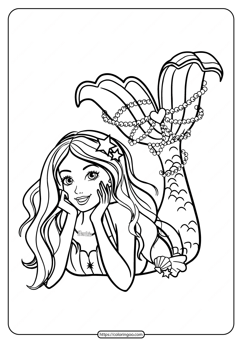 Mermaid Barbie With Cool Haircut Coloring Page Mermaid Coloring Book Mermaid Coloring Barbie Coloring